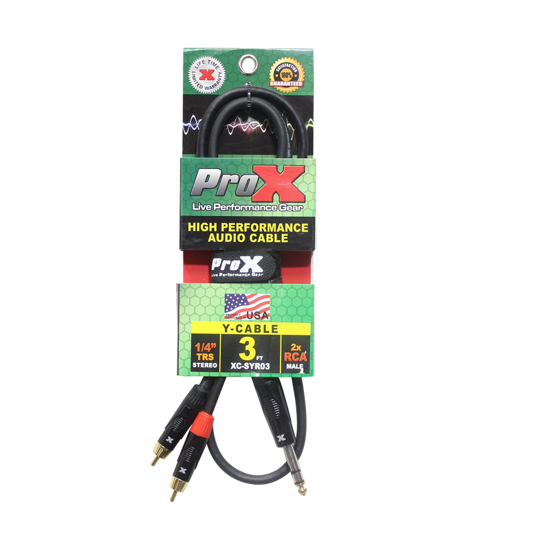 "ProX XC-SYR03 3 Ft. Unbalanced 1/4"" TRS-M to Dual RCA-M High Performance Audio Cable"