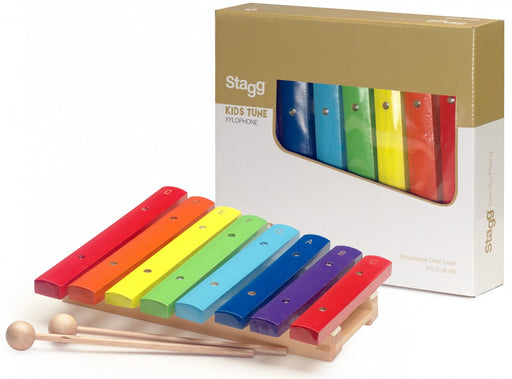 Stagg XYLO-J8 RB Xylophone avec touches à code couleur et 2 maillets en bois - Red One Music