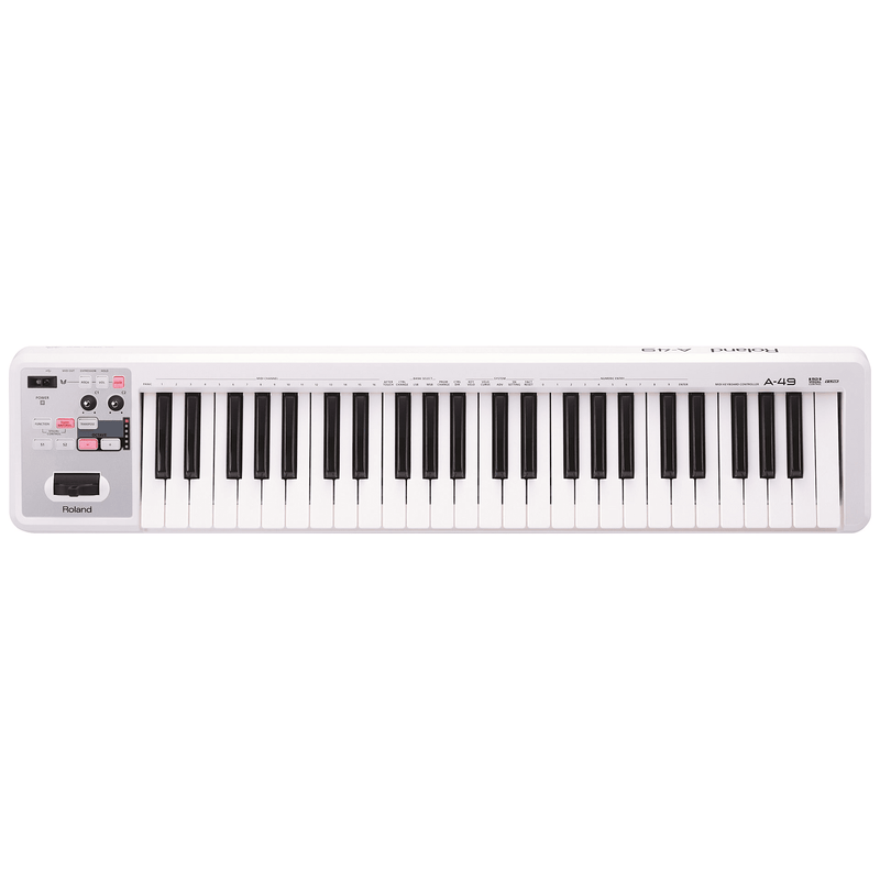 Roland A-49 White Midi Keyboard Controller - Red One Music