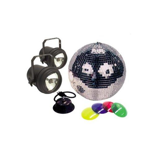 American DJ 12In Mirror Ball Package Incl Motor  2 Pinspots 12 Mirror Ball Amp 2 30W Par