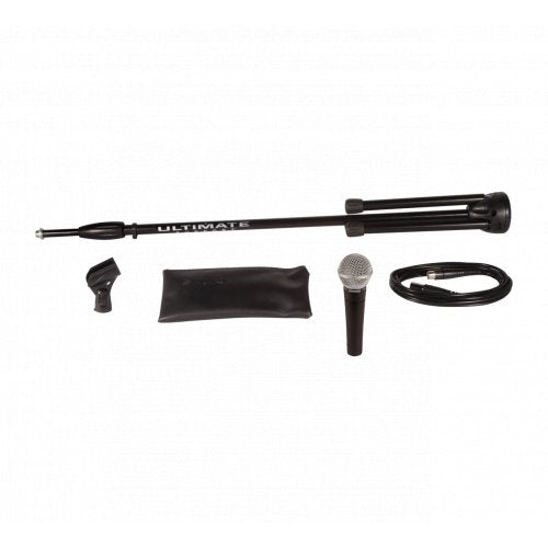 Shure SM58-CN-BTS Stage Performance Microphone Kit with SM58, Cable and Stand - Red One Music