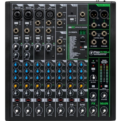 Mackie ProFX10v3 10-Channel Professional Effects Mixer with USB - Red One Music
