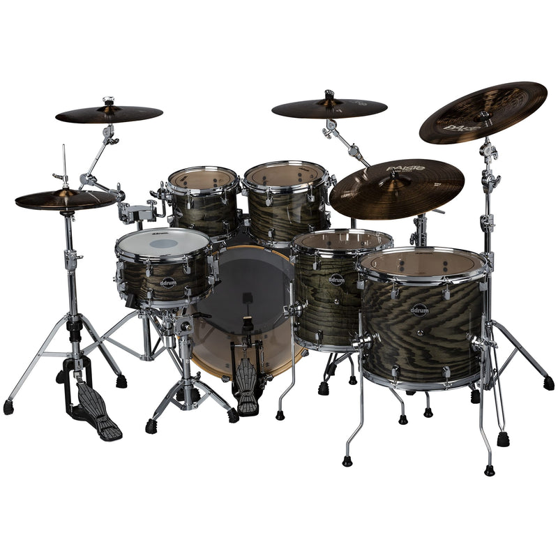 DDrum Dominion DM-ASH-622-TBK Dominion Birch 6pc Shell Pack With Ash Veneer Transparent Black