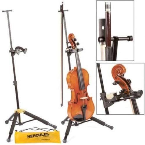 Hercules Ds571Bb Travlite Violin/viola Stand W Bag - Red One Music
