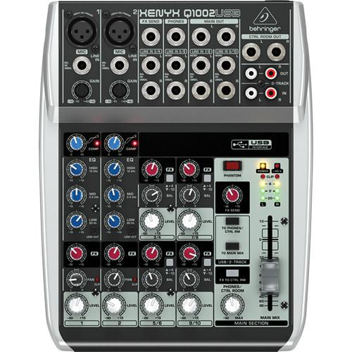 BEHRINGER Q1002USB  XENYX Q1002USBPREMIUM 10-INPUT 2-BUS MIXER WITH XENYX MIC PREAMPS  COMPRESSORS