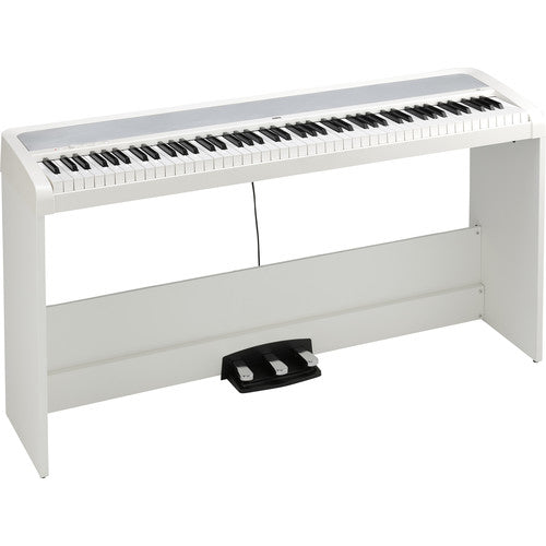 Korg B2SPWH 88-Key Digital Piano with Stand and Three-Pedal System (White) - Red One Music