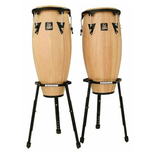 Latin Percussion Lpa646Baw  Aspire 10 Amp 11 Natural Finish Wood Conga Set W 2 Basket Stands
