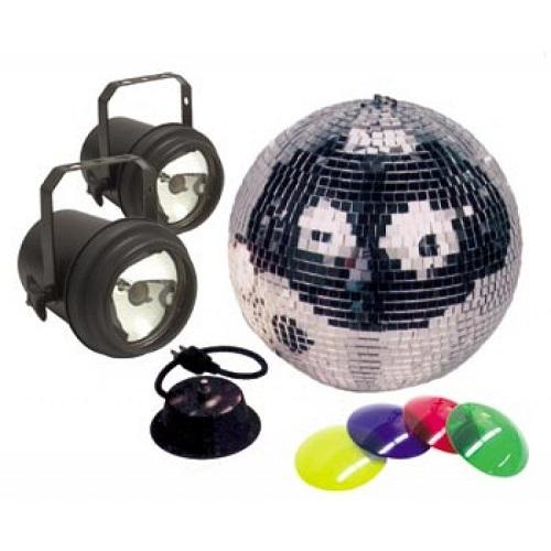 American DJ M-502L  12 Mirror Ball Package With Motor Amp Pinspots