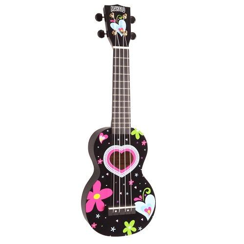 Mahalo Ma1He-bk  Art Series Hearts And Flowers Soprano Ukulele With Bag - Red One Music