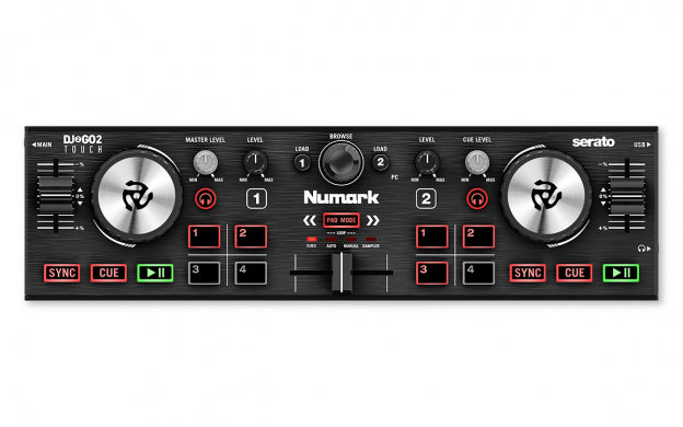 Numark DJ2GO2 Touch Pocket DJ Controller with Touch-Capacitive Jog Wheels - Red One Music