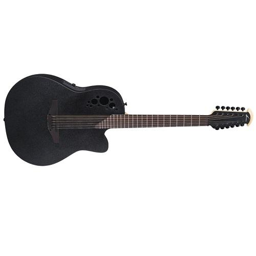 Ovation 2058TX-5 12-String Deep Contour Cutaway Body Acoustic-Electric Guitar - Black