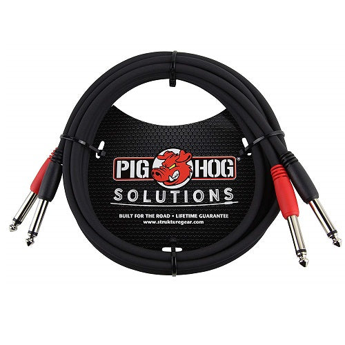 "PigHog PD-21406 6ft 1/4 ""-1/4"" Dual Cable - Red One Music"