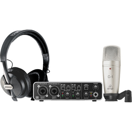 Behringer U-PHORIA STUDIO PRO Recording Bundle with UMC202HD Interface, Condenser Microphone & Headphones - Red One Music