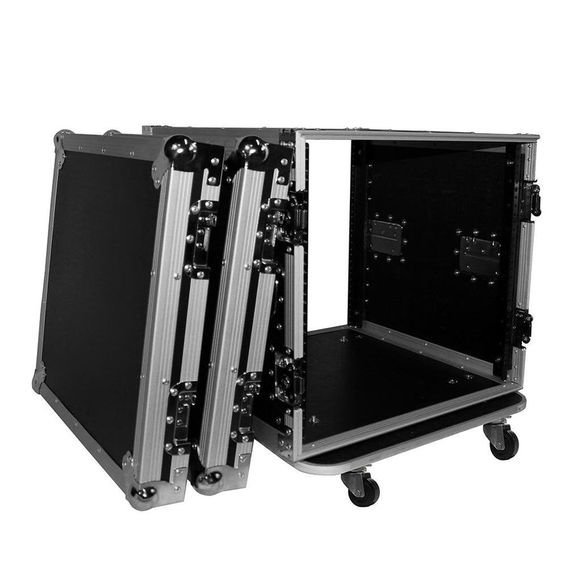 Prox T-10RSS24 10U Space Amp Rack Mount Ata Flight Case 24 Depth W Casters - Red One Music