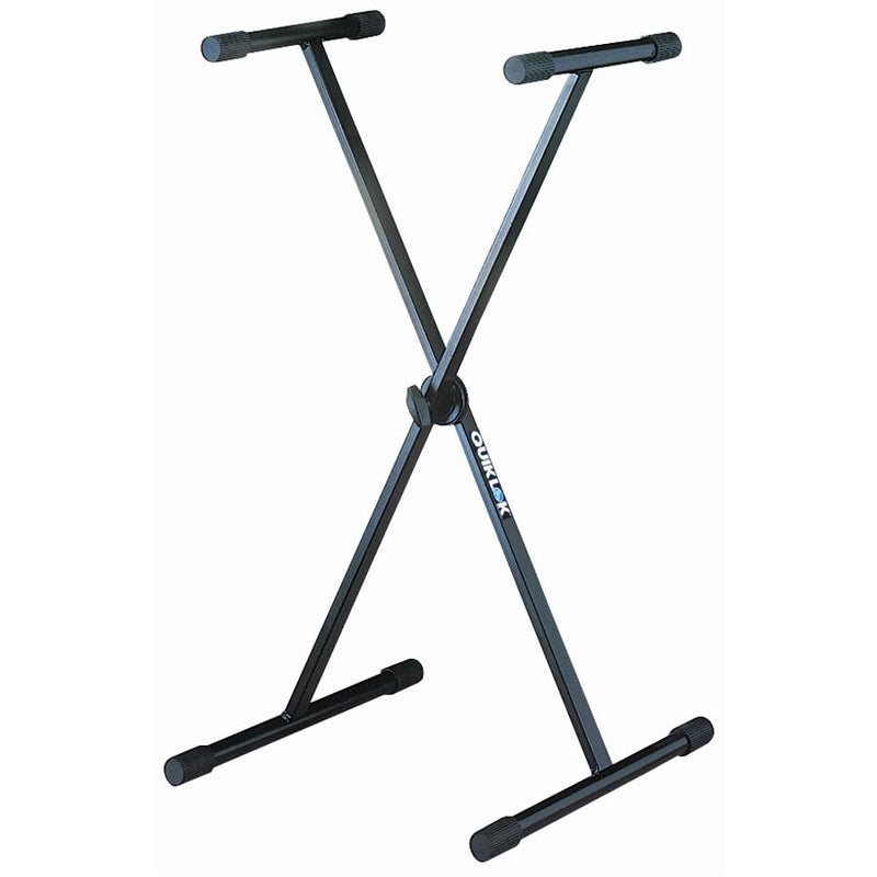 Quiklok T-10B Single-Tier Single-Brace Keyboard Stand With Dino-Bite Locking Disc Black - Red One Music