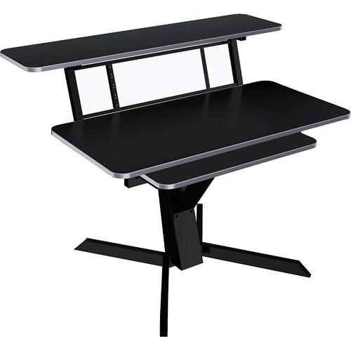 Quiklok Z-460 Triple Shelf Workstation With Black Wood Tops And Pullout Shelf - Red One Music