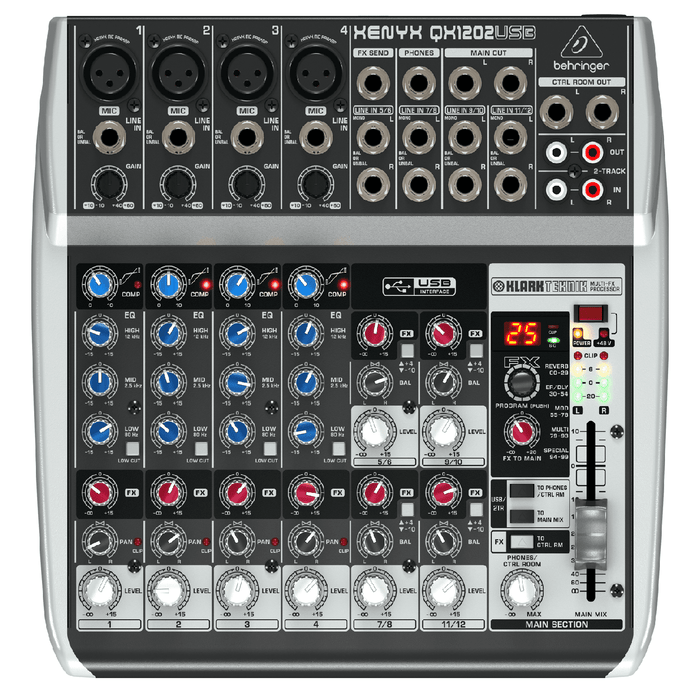 Behringer Qx1202Usb Premium 12-Input 2-Bus Mixer with Multi-Fx Processor and Usbaudio Interface - Red One Music