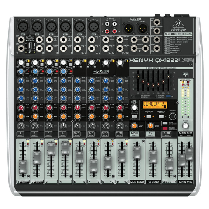 BEHRINGER QX1222USB  PREMIUM 16-INPUT 22-BUS MIXER WITH WIRELESS OPTION AND USBAUDIO INTERFACE