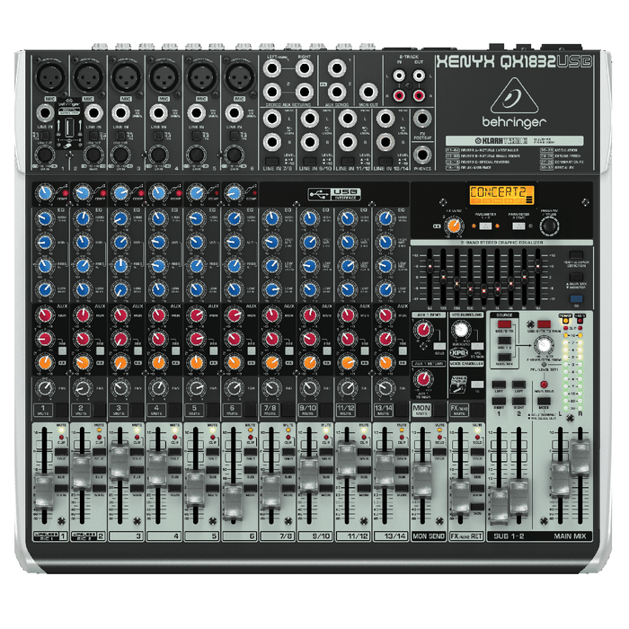 Behringer Qx1832Usb Premium 18-Input 32-Bus Mixer with Multi-Fx Processor Wireless Option and Usbaudio Interface - Red One Music