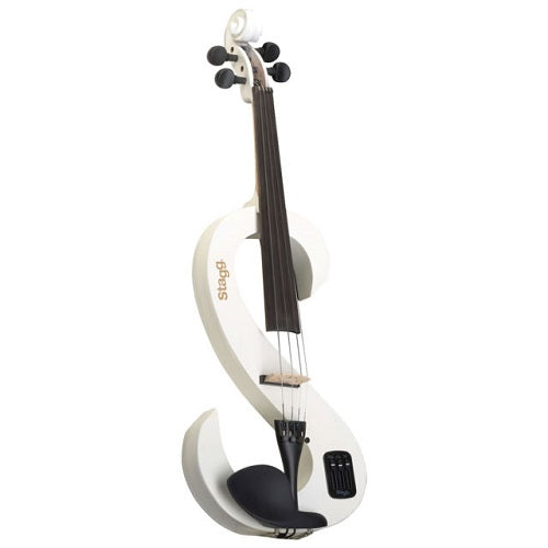 Stagg Evn 4/4 Wh Electric Violin Set With S-Shaped White Electric Violin