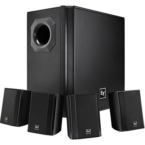 Electro Voice Evid-S4.4 Subwoofer  4X Satellite Speaker Package Black