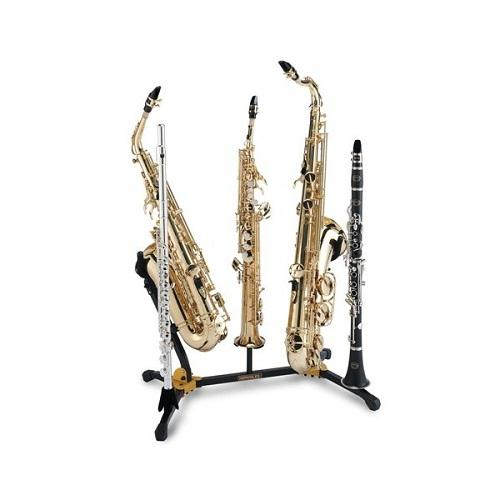 Hercules Ds538B Duo Altotenor Sax Stand W 2 Clarinetflute Pegs And 1 Soprano Sax Peg - Red One Music