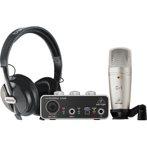 Behringer U-Phoria Studio Recording/Podcasting Bundle with Interface, Mic, and Headphones