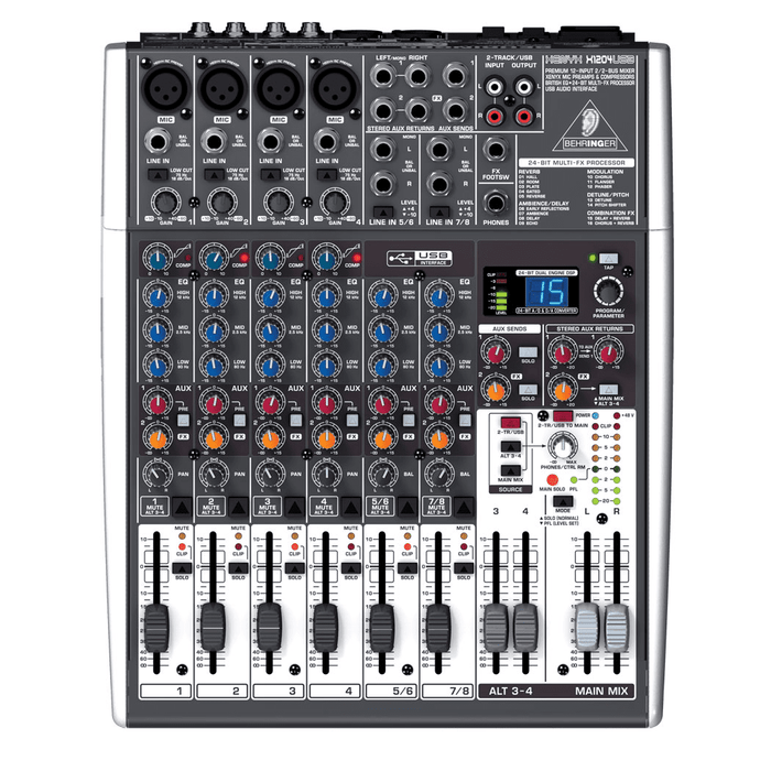 BEHRINGER XENYX X1204USB  MIXER 24-BIT MULTI-FX PROCESSOR AND USBAUDIO INTERFACE