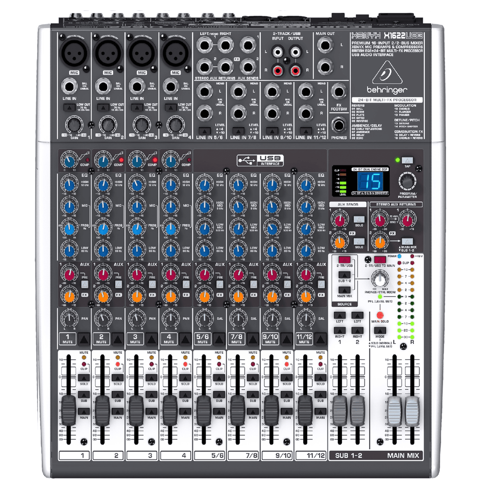 BEHRINGER XENYX X1622USB  PREMIUM 16-INPUT 22-BUS MIXER WITH 24-BIT MULTI-FX PROCESSOR AND USBAUDIO INTERFACE
