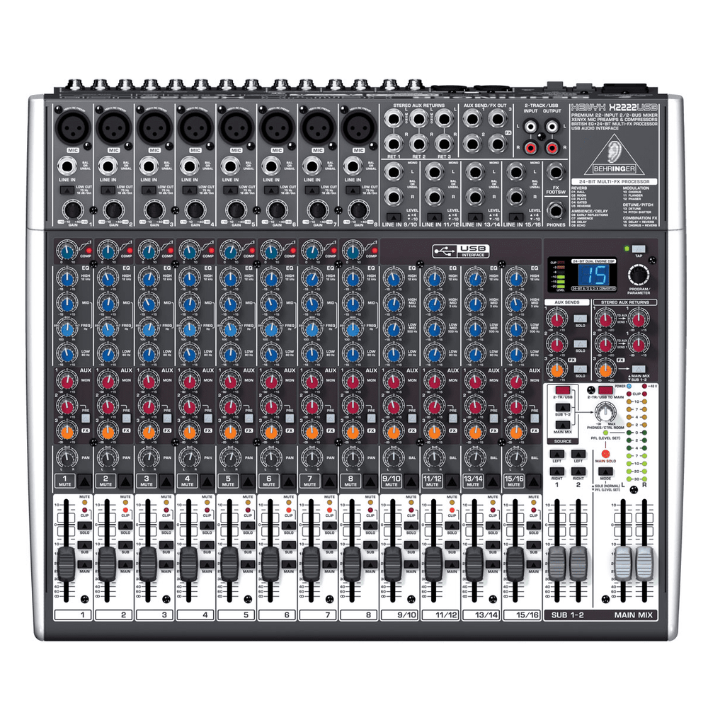 BEHRINGER XENYX X2222USB PREMIUM 22-INPUT 22-BUS MIXER WITH 24-BIT MULTI-FX PROCESSOR AND USBAUDIO INTERFACE