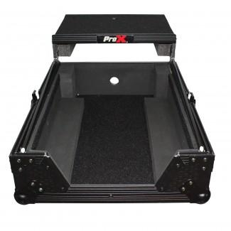 ProX XS-M12LTBL Mixer ATA Flight Hard Case For Large Format 12 Universal Dj Mixer With Laptop Shelf Black On Black - Red One Music