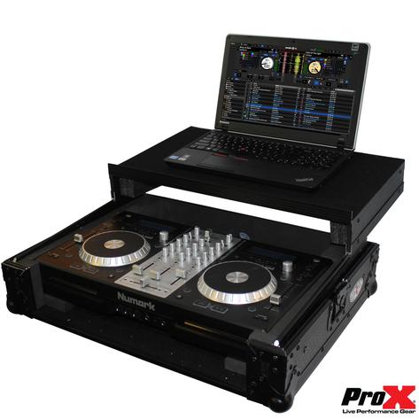 ProX XS-MIXDECK WLTBL Black On Black Flight Case W Wheels And Laptop Tray - Red One Music