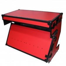 Prox Xs Ztablerb Dj Table Flight Case With Handles Amp Wheels Red On Black