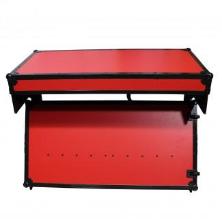 ProX XS-ZTABLERB MK2 DJ Table Flight Case With Handles Amp Wheels Red On Black - Red One Music