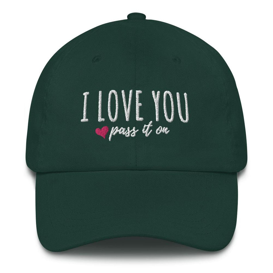 Dad Hat (Embroidered) Signature Love Design - ILOVEYOUPASSITON
