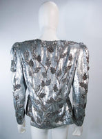 CAROLINA HERRERA Silver Beaded and Sequin Jacket with Top Size 8-10