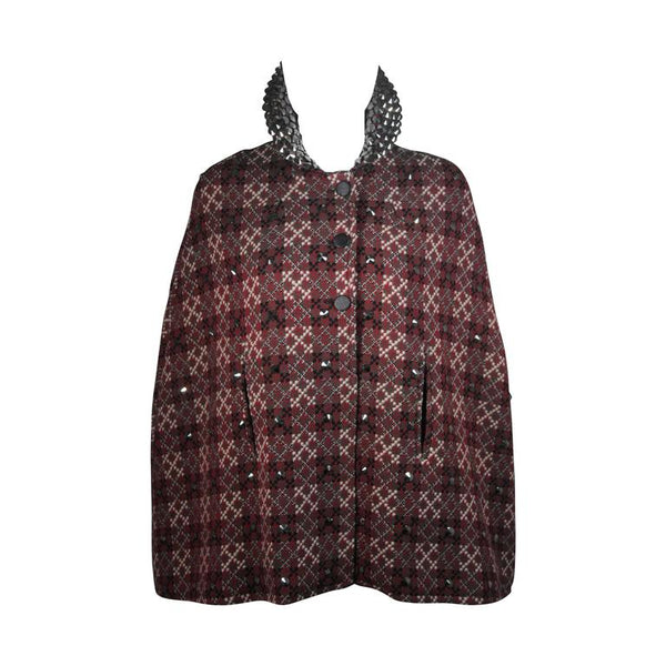 VINTAGE Red, Green Plaid Wool Cape with Gunmetal Stud Applique