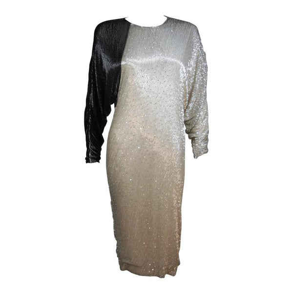VINTAGE Circa 1980s Black and Silver Silk Cocktail Dress SIze 4-6