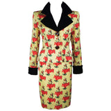 GIVENCHY 1980s Yellow Print Silk Suit w/ Velvet Trim Size 2-4