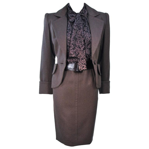 GIVENCHY Couture Wool & Snakeskin 4 pc Skirt Suit Size 4-6