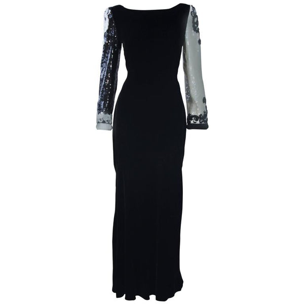 BILL BLASS Color Black Velvet Gown with Beaded Sleeves Size 6-8