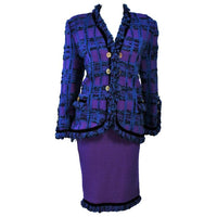 ADOLFO Purple Stretch Boucle Knit Skirt Suit with Clover Buttons Size 14