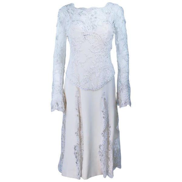 FE ZANDI White Lace Silk Embellished Dress Size 6