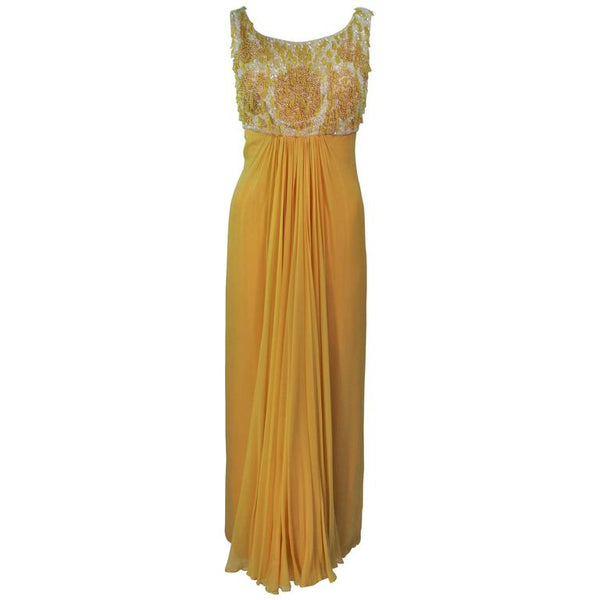 VINTAGE Circa 1960s Beaded Yellow Chiffon Gown Size 2-4