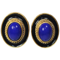 YVES SAINT LAURENT Bluestone Clip-On Earrings Gold hue