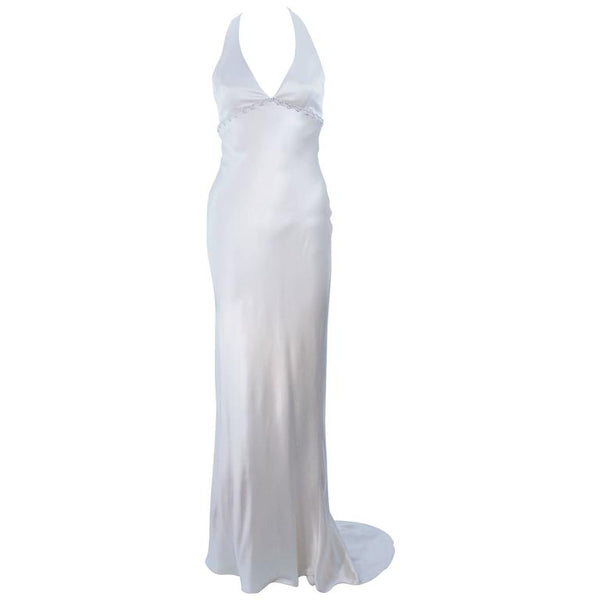 MONIQUE LHUILLIER White Silk Wedding Gown with Halter & Rhinestones Size 6-8