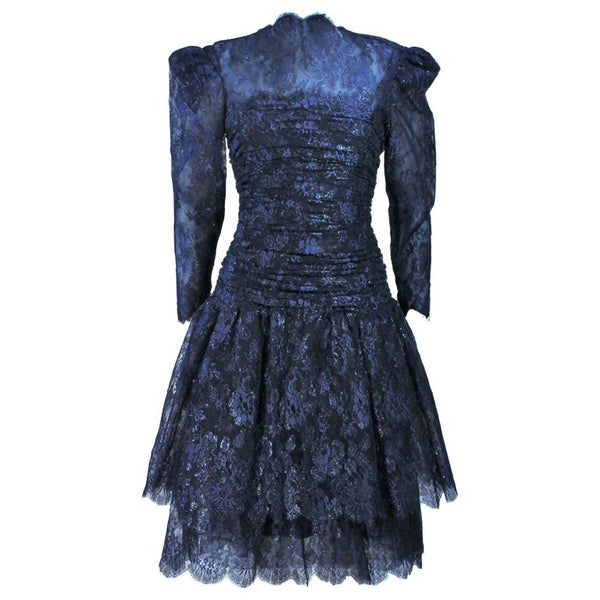 ARNOLD SCAASI Navy Metallic Lace Cocktail Dress Size 8-10