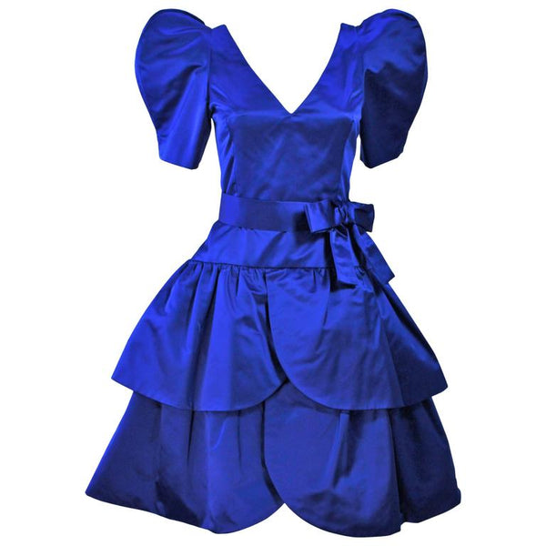 ARNOLD SCAASI Blue Satin Cocktail Dress with Bow Size 8
