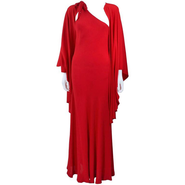 HALSTON Red Chiffon Gown with Jersey Cape Size 6-8