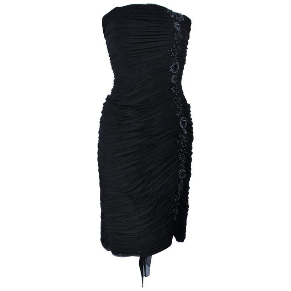 VICKY TIEL Black Stretch Mesh Beaded Cocktail Dress Size 6-8
